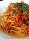 海老と菜の花のトマトソーススパゲティ