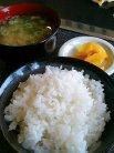 ご飯、味噌汁、お漬け物
