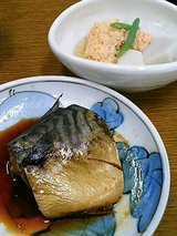 鯖の煮付け、鱈子