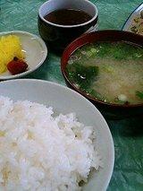 ごはん(中)、お味噌汁、お漬物