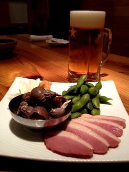 たぬき 生ビールと前菜