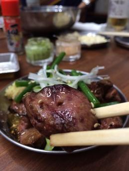 肉家まるまさ 鳥肝のあぶり焼 (2)