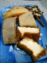 厚揚げ、小芋、タケノコの煮たのん