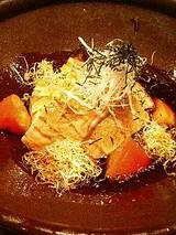 北海鮭の焼きしゃぶと法蓮草のスープサラダ(680円)