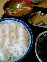 ご飯、味噌汁、一品(300円)