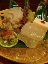 御向(水晶鱧お造り、鱧の肝、鯛の切り身、豆腐)