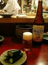 祇園 安参 ビールと付だし(お漬物)
