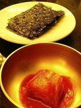 高矢禮 ご飯、焼海苔、白菜キムチ