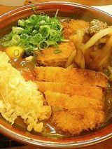 トンカツカレーうどん+生玉子+肉大盛り+天ぷら