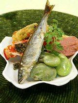稚鮎、とこぶし、空豆、菜の花、車海老、鴨