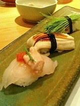 鮨 海馬  かわはぎ、煮穴子、芽ねぎ