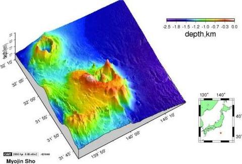 明神礁・海底地形図