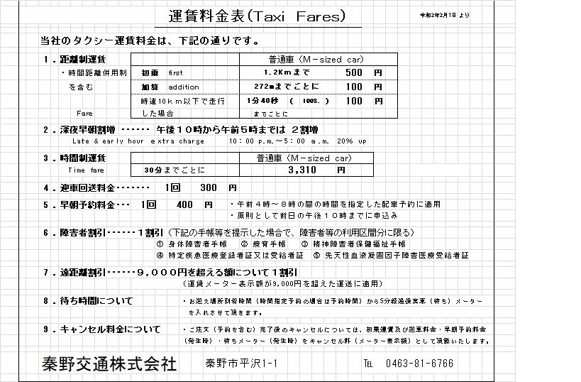 �運賃改定 R2.2.1