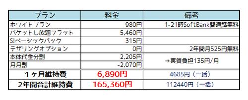 ソフトバンクiPhone 5c料金3