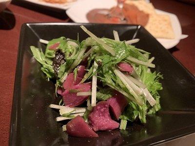 姫路 ネイバーフットバー Aqua シバ漬けのサラダ