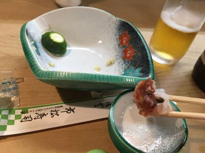 明石 江井ケ島 市松寿司 ハモ湯引き 梅肉