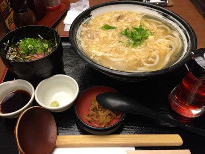 姫路 うどん 杵屋 王さんの卵とじうどん定食