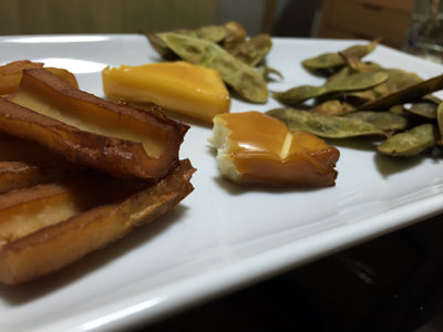 自宅で燻製 枝豆 チーズ