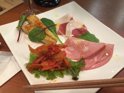 明石 ステーキ酒場 MORISHIN 前菜とハムの4種盛り