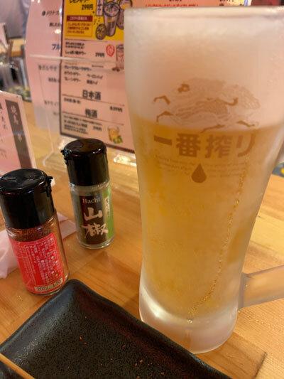 姫路 焼き鳥 鶏屋製作所 生ビール 一番搾り