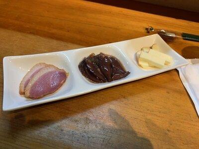 姫路 立ち呑み 鮭味噌漬け 珍味三種盛り