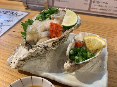 姫路 貝屋 マルホウ 生牡蠣食べ比べ