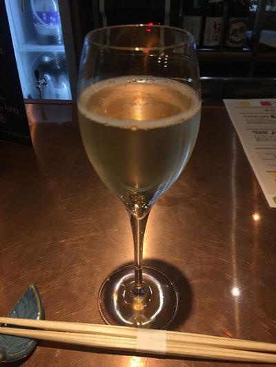 明石 居酒屋 まある笑店 スパークリング ワイン