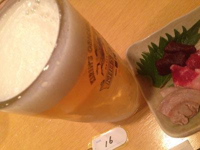 西明石駅南 炭火焼鳥 たくま ビール