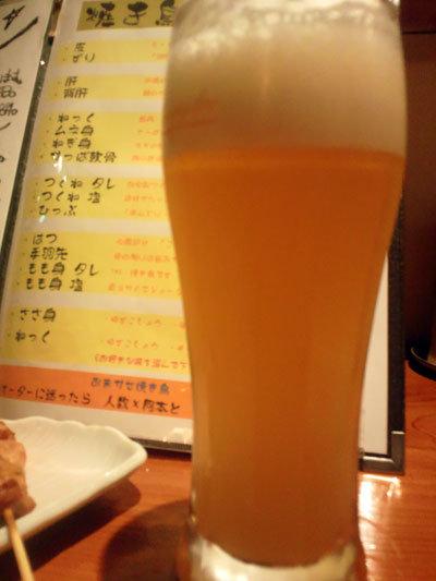 神戸 焼き鳥 鶏の拙者 生ビール