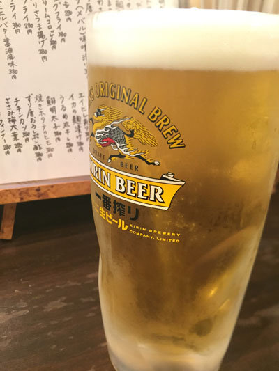 明石 立ち呑み処 つなぎ家 生ビール