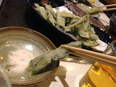 淡路 鉄板焼き ほたる わかめの天ぷら 塩