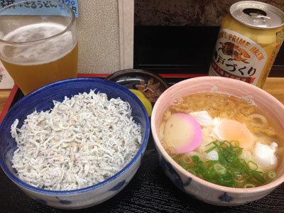 明石 魚の棚 うどん処 梅杏 しらす丼セット