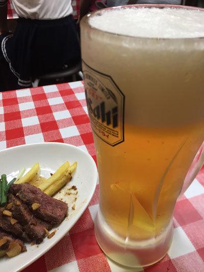 姫路 ステーキのまるまさ 生ビール