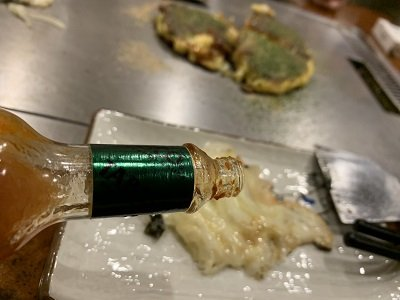 京都 お好み焼き きらく ネギ チーズ焼き