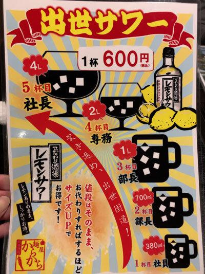 姫路 麺酒屋 からから サワーの飲み方