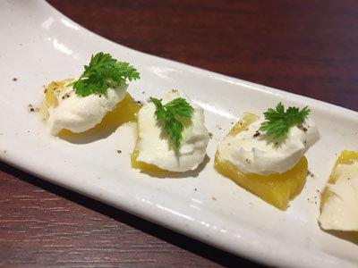 姫路 ステーキ&ハンバーグ 富士亭 たくあんクリームチーズ