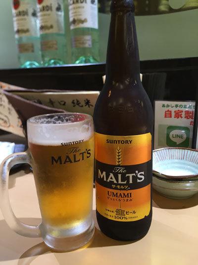 明石 魚の棚 あかし亭 瓶ビール モルツ