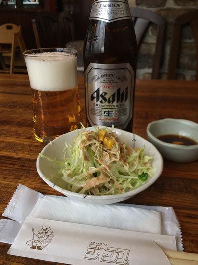 姫路 ステーキハウス ジャンプ サラダ ビール