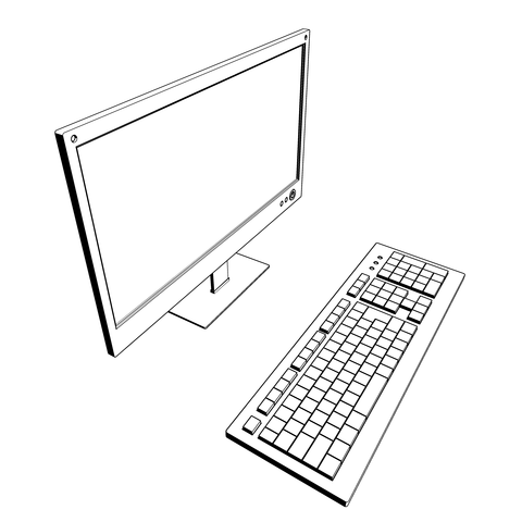 パソコンのキーボードとモニター_0000_01
