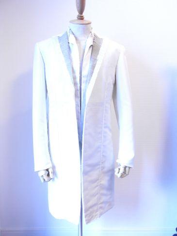 オーダータキシードの仮縫い中、ロング、ショートフロックタキシード