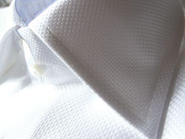 オックスフォードバスケット柄のオーダーシャツ衿元
