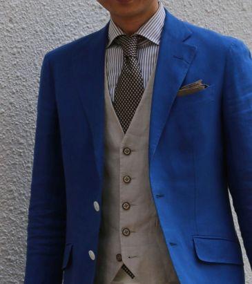 リネン素材のジャケットやベストのコーディネート