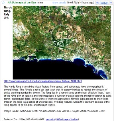 NASAの日替わり画像をGmailで見る