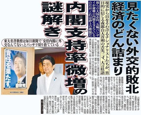日刊ゲンダイ 支持率微増の謎解き
