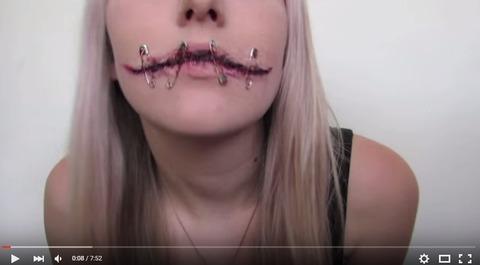【これならできそう★】唇に安全ピンを刺したゾンビメイク
