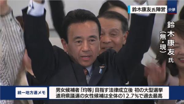 鈴木康友氏が当選確実(NHK)