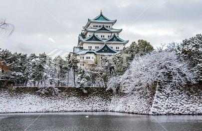 名古屋城雪