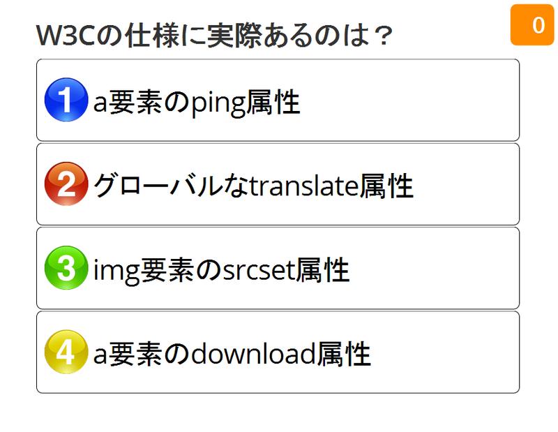 1:a 要素の ping 属性 2:グローバルな translate 属性 3:img 要素の srcset 属性 4:a 要素の download 属性