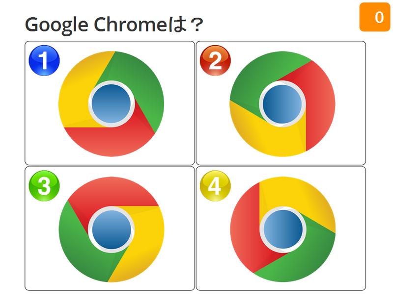 1:左上が黄色、右上が緑、下赤、中央は上が濃くて下が薄い紺色のグラデーション。 2:左上が緑、右上が赤、下が黄色、中央は左が濃くて右が薄い紺色のグラデーション。 3:上が赤、右下が黄色、左下が緑、中央は上が薄くて下が濃い紺色のグラデーション。 4:上が黄色、右下が緑、左下が赤、中央は左が薄くて右が濃い紺色のグラデーション。