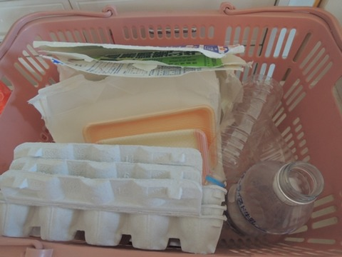 カゴの中はスーパーに持っていくもの